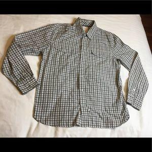 LEVI'S Sz Large Grey/White Long Sleeves Snap Shirt